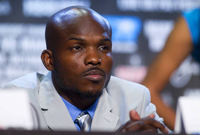 Undefeated WBO welterweight champion Timothy Bradley Jr. attends a news conference at the Wynn Las Vegas Resort Wednesday, Oct. 9, 2013. Bradley will defend his title against Juan Manuel Marquez of Mexico at the Thomas & Mack Center Saturday.
