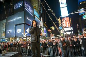 Criss Angel in Times Square for Spike TV