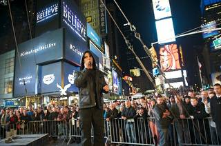 "Criss Angel in Times Square in New York for his Spike TV series ""Believe."""