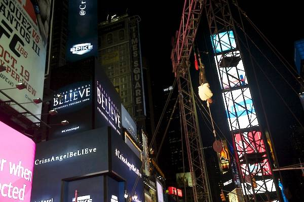 Criss Angel in Times Square in New York for his ...