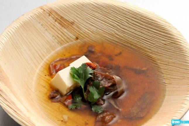"Las Vegas chef Shirley Chung's turtle soup with goji berry and Chinese Broth on Season 11 of Bravo's ""Top Chef."""