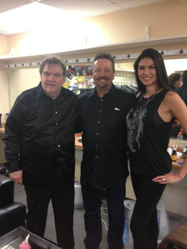 "Meat Loaf, Terry Fator and Taylor Makakoa backstage at ""Rocktellz & Cocktails"" at Planet Hollywood."