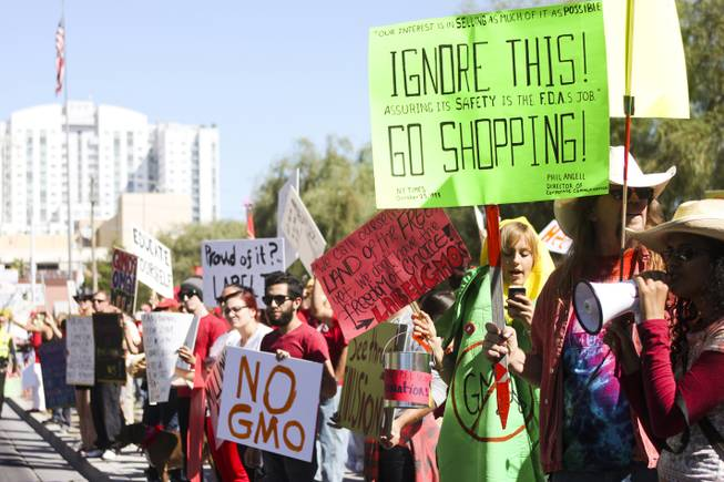 "Protesters rally outside the U.S. district courthouse during the ""March Against Monsanto"" protest opposing genetically modified food in downtown Las Vegas, Saturday, Oct. 12, 2013."
