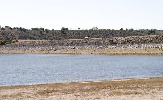 Like many Southern Nevada reservoirs, water levels are down and the lake is smaller behind the earthen Echo Canyon Dam, Saturday, Oct. 12, 2013.