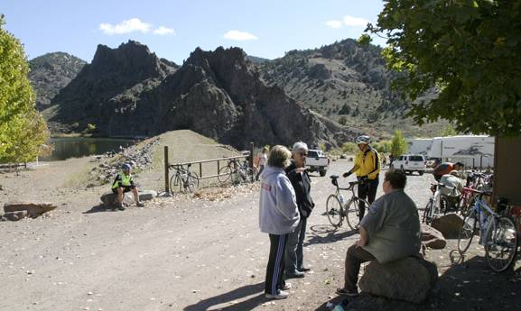 Bicyclists in the Park to Park Pedal on Oct. 12, 2013, take a lunch break at Spring Valley State Park, Saturday, Oct. 12, 2013.