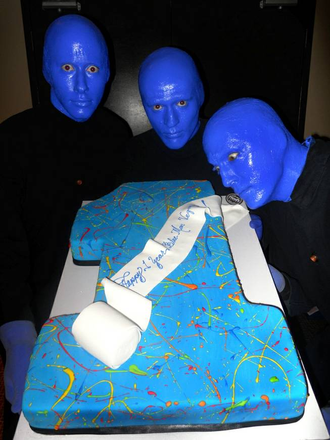 Blue Man Group celebrates their first anniversary on Thursday, Oct. 10, 2013, at Monte Carlo.