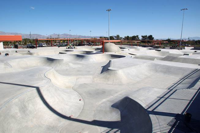 A large skate park is seen at the soon to open Craig Ranch Park in North Las Vegas Tuesday, October 15, 2013,