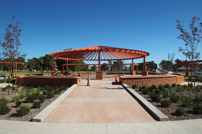 This is the central plaza at the soon to open Craig Ranch Park in North Las Vegas Tuesday, October 15, 2013,
