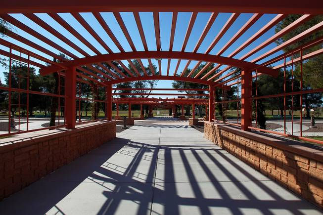 A trellis leads to the rose garden at the soon to open Craig Ranch Park in North Las Vegas Tuesday, October 15, 2013,