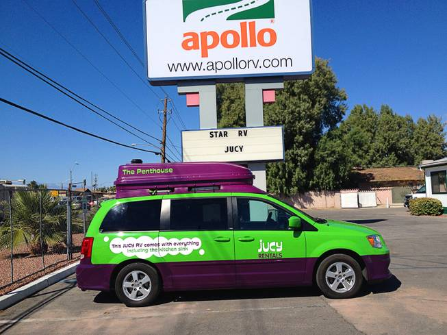 Jucy vans are available at the Apollo RV rental facility on Boulder Highway.