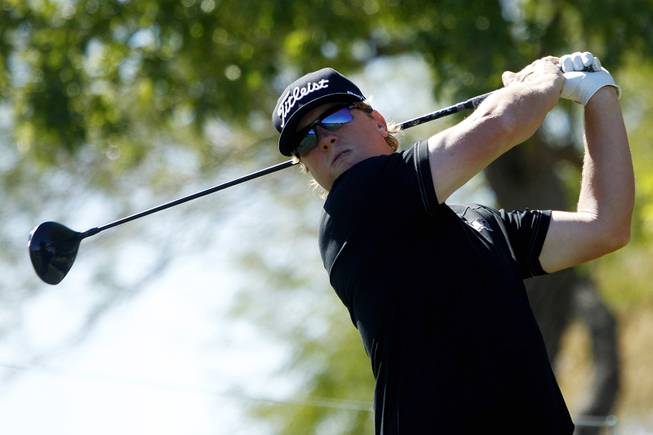 Charley Hoffman tees off during the Shriners Hospital for Children Open pro-am tournament Wednesday, Oct. 16, 2013.