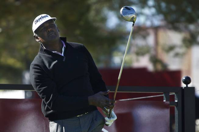 Vijay Singh tees off during the Shriners Hospital for Children Open pro-am tournament Wednesday, Oct. 16, 2013.