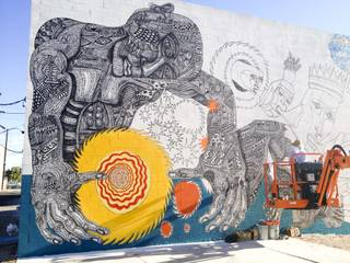 A mural for the 'Life is Beautiful' festival in mid progress in downtown Las Vegas as seen on Monday, Oct. 21, 2013.