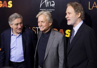 "Robert De Niro, Michael Douglas and Kevin Kline arrive at the ""Last Vegas"" after-party on Friday, Oct. 19, 2013, at Haze in Aria."