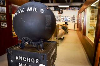 An inert MK 6 mine, which would be moored to the sea floor, sits in the Hawthorne Ordnance Museum, Wednesday, Oct. 23, 2013. This type of mine was used by the U.S. Navy starting in World War I and was in service through the 1970s.