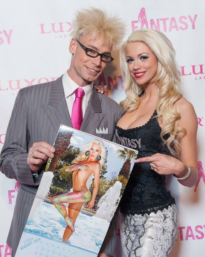 "Murray Sawchuck and Chloe Crawford attend the ""Fantasy"" calendar-release party on Tuesday, Oct. 22, 2013, at Luxor."