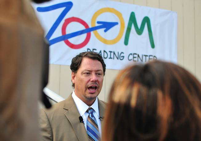 Clark County Schools Superintendent Pat Skorkowsky addresses the media at a Zoom Reading Center on Wednesday, October 23, 2013, at Lunt Elementary School.