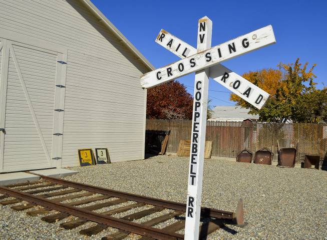 A sign at the Lyon County Museum in Yerington, recognizing the Nevada Copper Belt Railroad, which served the area in the first part of the 20th century, Wednesday, Oct. 23, 2013.