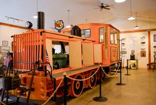 A diesel train engine that was used in the 1940s on the Nevada Copper Belt Railroad sits in the Lyon County Museum in Yerington on Oct, Wednesday, Oct. 23, 2013. 24, 2013, Wednesday, Oct. 23, 2013.