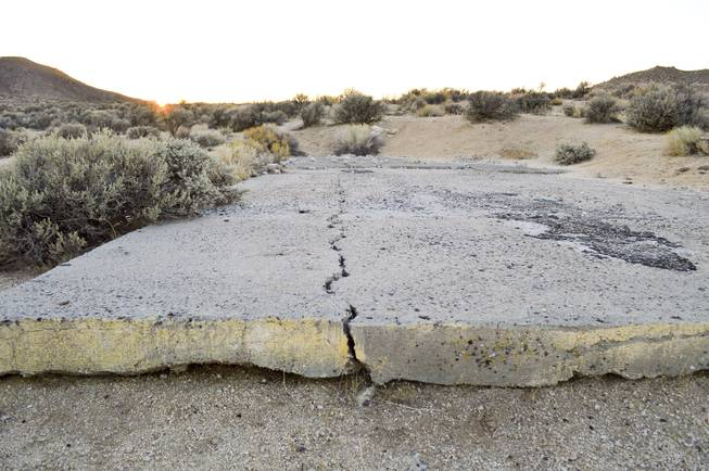 At the Project Shoal site in Churchill County, where a nuclear weapon was detonated on Oct. 26, 1963, about 1,200 feet underground, there's little evidence of the blast. This concrete pad was part of the site, Thursday, Oct. 24, 2013.