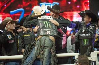 J.B. Mauney of Mooresville, N.C., wins Night 2 of the 2013 PBR Built Ford Tough World Finals on Thursday, Oct. 24, 2013, at the Thomas & Mack Center.