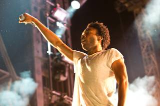 Childish Gambino performs during day one of the Life is Beautiful festival in downtown Las Vegas, Saturday, Oct. 26, 2013.
