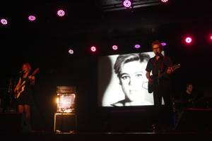 "Dean and Britta perform their ""13 Most Beautiful Songs for Andy Warhol's Screen Tests"" at the Life Is Beautiful Festival in downtown Las Vegas, Saturday, Oct. 26, 2013."