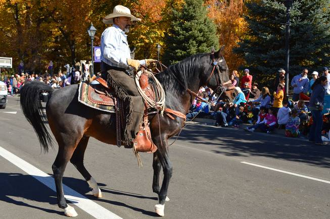 A horseman rides in the Nevada Day parade in Carson City on Oct. 26, 2013.