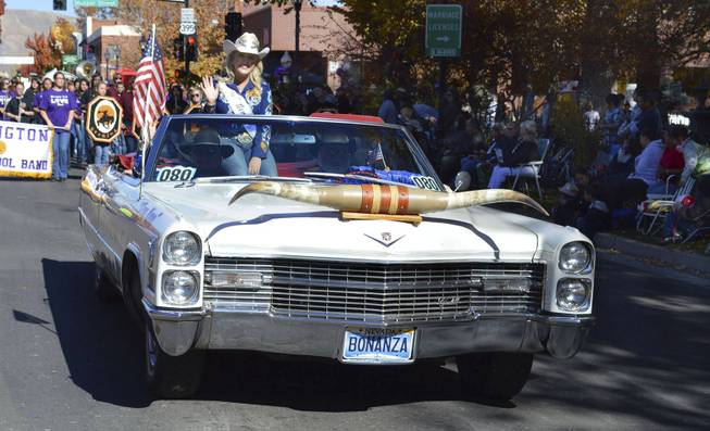 Miss Rodeo Nevada Tara Bowlby rides in the Nevada Day parade in Carson City on Oct. 26, 2013, in a car sponsored by the Bonanza Casino.