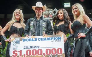 J.B. Mauney of Mooresville, N.C., won the 2013 PBR Built Ford Tough World Finals on Sunday, Oct. 27, 2013, at the Thomas & Mack Center at UNLV. Mauney, 26, received $1 million as world champion in achieving the highest combined points for the year, plus, $250,000 for winning the World Finals event.