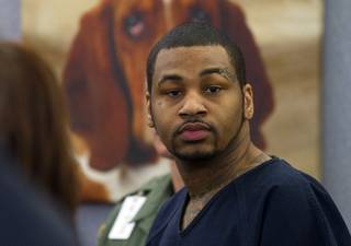 Ammar Harris, the suspect the Feb. 21 Las Vegas Strip shooting and car crash that killed three people, appears in court at the Regional Justice Center Wednesday, Oct. 30, 2013.
