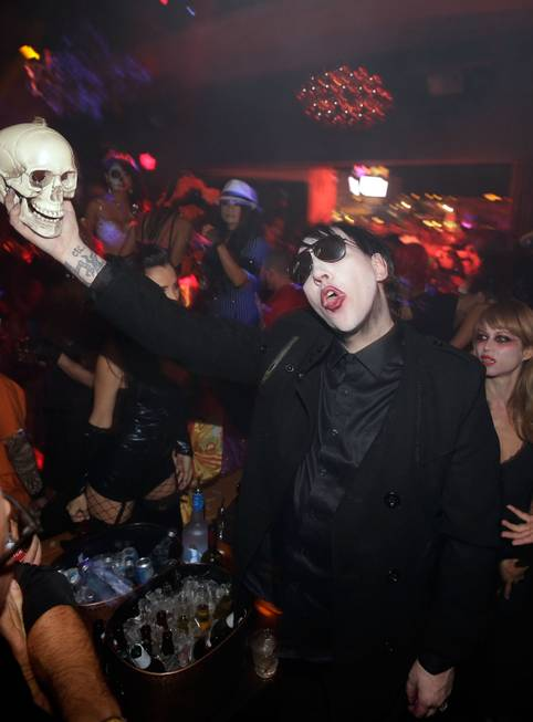 Marilyn Manson hosts a Halloween party on Tuesday, Oct. 29, ...