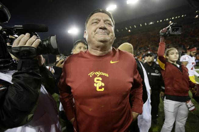 Southern California interim football coach Ed Orgeron is shown during an NCAA college football game against Oregon State in Corvallis, Ore., Friday, Nov. 1, 2013.