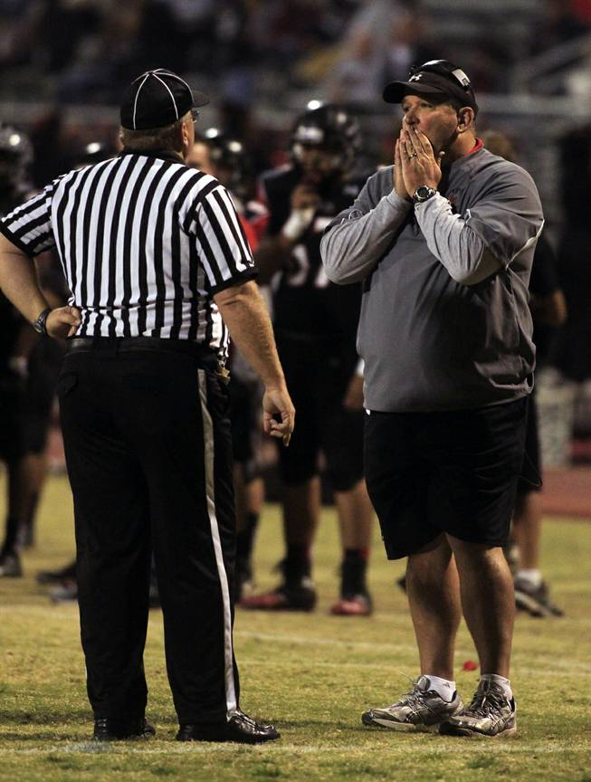 Las Vegas head coach James Thurman is stunned by a block punt returned for a touchdown by Canyon Springs and a penalty for his team on top of it. Canyon Springs defeated  Las Vegas High 21-14 on Friday, Nov. 1, 2013.