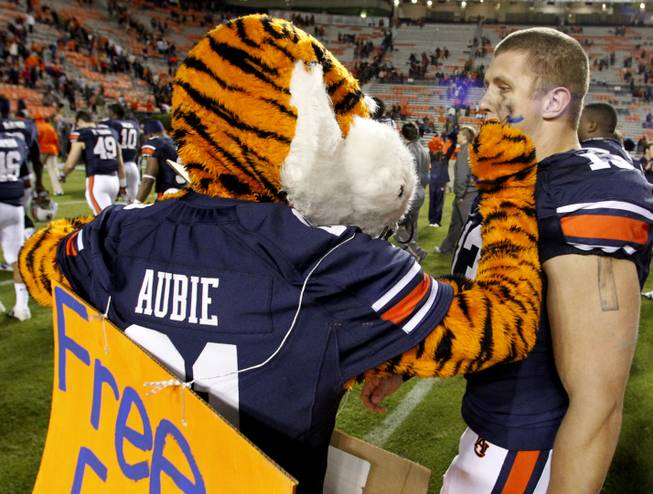 Aubie offers free face painting to Auburn defensive end Craig Sanders (13) after an NCAA college football game against Florida Atlantic on Saturday, Oct. 26, 2013, in Auburn, Ala.