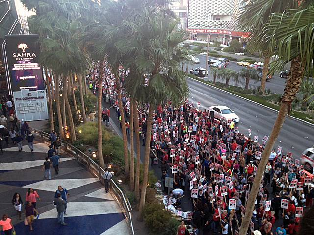 Culinary Union members and supporters protest in front of the Cosmopolitan, Friday, Nov. 1, 2013.
