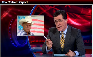 "In a screen shot from the website of ""The Colbert Report,"" host Stephen Colbert lampoons Nevada Assemblyman Jim Wheeler in the Oct. 31, 2013, broadcast of the Comedy Central show."