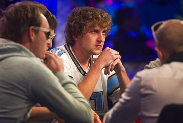 Ryan Riess, 23, a poker professional from East Lansing, Michigan who now resides in Las Vegas, competes during the final table of the World Series of Poker $10,000 buy-in no-limit Texas Hold 'Em tournament at the Rio Monday, Nov. 4, 2013. The 2013