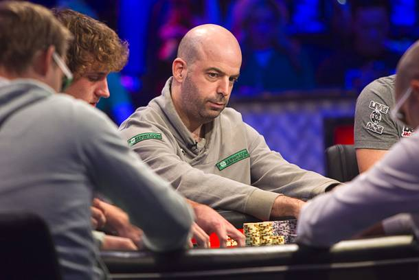 Amir Lehavot, 38, an Israeli currently residing in Weston, Fla., competes during the final table of the World Series of Poker $10,000 buy-in no-limit Texas Hold 'Em tournament at the Rio Monday, Nov. 4, 2013. The 2013