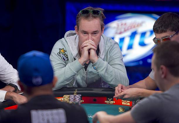 Michiel Brummelhuis, 32, a poker professional from Amsterdam, Netherlands, competes during the final table of the World Series of Poker $10,000 buy-in no-limit Texas Hold 'Em tournament at the Rio Monday, Nov. 4, 2013. The 2013