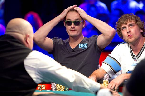 Michiel Brummelhuis, left, 32, a poker professional from Amsterdam, competes against Ryan Riess, right, 23, a Las Vegas poker professional, during the final table of the World Series of Poker $10,000 buy-in no-limit Texas Hold 'Em tournament at the Rio Monday, Nov. 4, 2013. Riess knocked out Brummelhuis with pocket aces on the next hand.