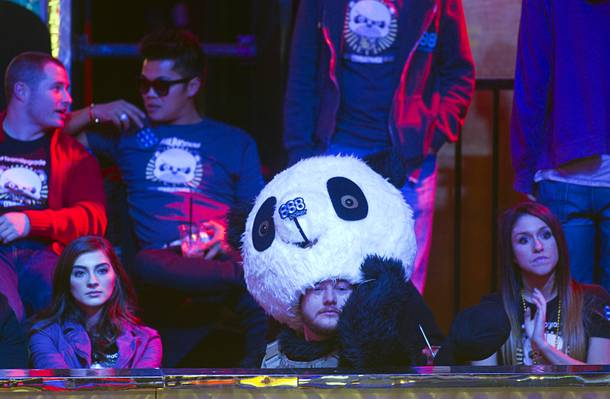 A supporter of Jay Farber, dressed in a panda costume, watches play during the final table of the World Series of Poker $10,000 buy-in no-limit Texas Hold 'Em tournament at the Rio Monday, Nov. 4, 2013.