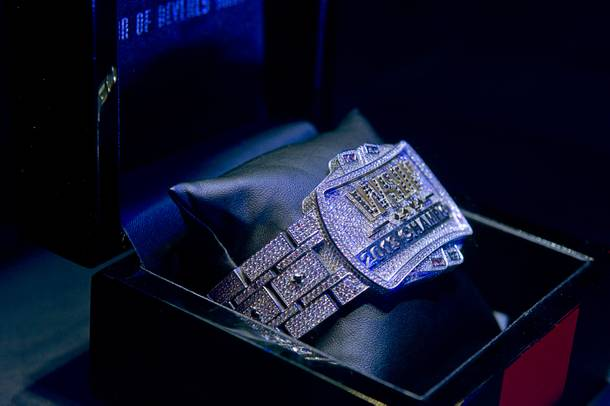 The championship bracelet is displayed during the final table of the World Series of Poker $10,000 buy-in no-limit Texas Hold 'Em tournament at the Rio Monday, Nov. 4, 2013.