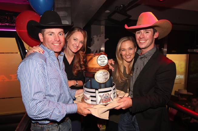 Brendon Clark, Allison Clark, Jennifer Snyder and Luke Snyder at PBR Rock Bar & Grill in Miracle Mile Shops at Planet Hollywood.