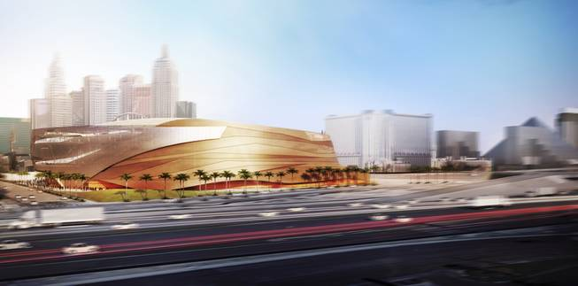 A rendering released by AEG and MGM Resorts International shows the west side of the companies' arena, which reflects the surrounding mountains.
