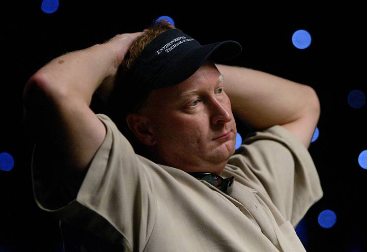 Steve Dannenmann of Severn, Md., looks across the table before betting $5 million in chips on the hand of the final table of the World Series of Poker Saturday July,  16, 2005 at Binion's Gambling Hall and Hotel in Las Vegas. Dannenmann  finished second and took home $4.25 million.
