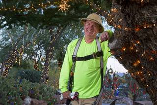 Steve Bowdoin, caretaker of the Botanical Cactus Garden at Ethel M Chocolate Factory, takes a break from stringing lights at the garden Wednesday, Nov. 6, 2013. The 20th annual holiday lighting display will kick off with a ceremony next Tuesday.