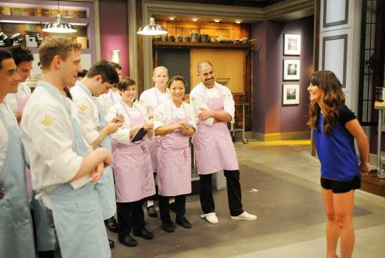 "Lea Michele guest stars on Bravo's ""Top Chef Masters"" on Wednesday, Oct. 30, 2013. Las Vegas chef Shirley Chung is second from right."