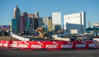 A preview of the 2013 Global Rallycross finals at Festival Grounds on Tuesday, Nov. 5, 2013, across from the Luxor.
