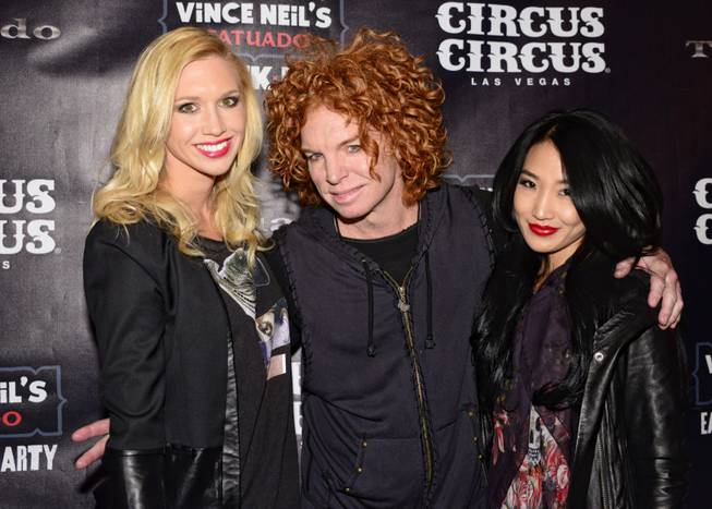 Carrot Top, center, and guests at Vince Neil's Tatuado, Eat, ...